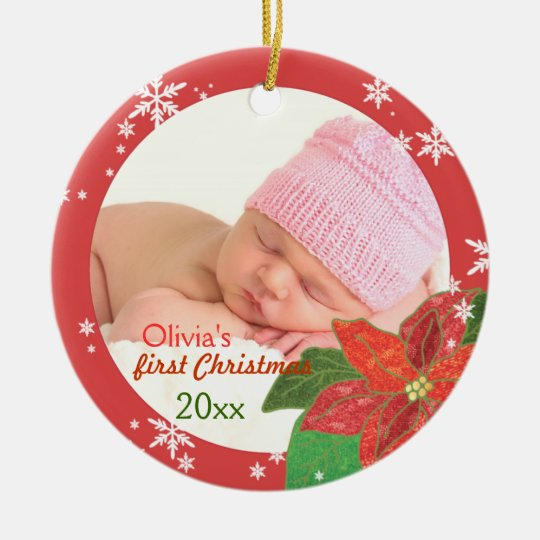 Baby Girl's First Christmas Red Photo Ornaments