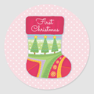 Baby girl's First Christmas Stickers