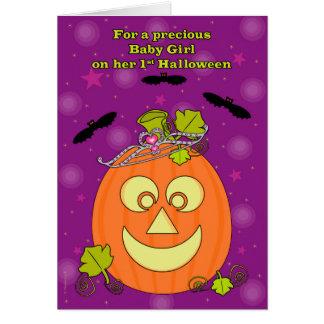 Baby Girl's First Halloween Pumpkin Princess Card