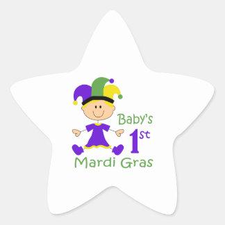 BABY GIRLS FIRST MARDI GRAS STAR STICKER