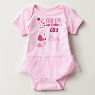 Baby Girl's First Valentine's Day Cute Pink Baby Bodysuit