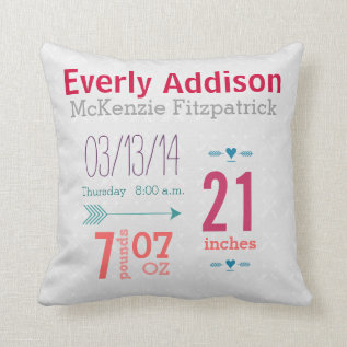 Baby Girl's Nursery Room Baby Stat Arrow Pattern Throw Pillow at Zazzle