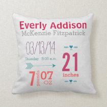 Baby Girl's Nursery Room Baby Stat Arrow Pattern Throw Pillow
