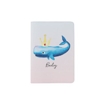Baby Girl's Ombre Watercolor Princess Whale Name Passport Holder