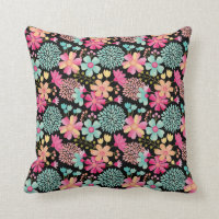 Baby Girls Painted Floral Pattern Nursery Pillow