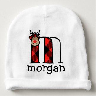 Baby Girls Reindeer Christmas Hat Plaid monogram m