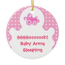 baby girl's room pink door hanger ceramic ornament