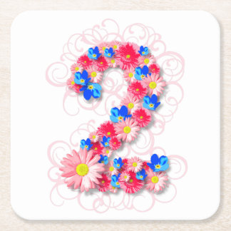 Baby Girls Second 2nd Birthday Pink Flower Two Square Paper Coaster