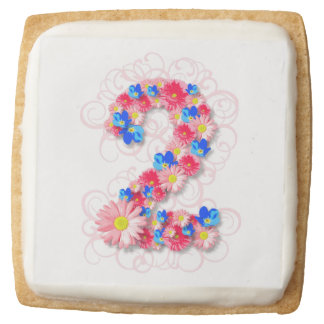 Baby Girls Second 2nd Birthday Pink Flower Two Square Shortbread Cookie