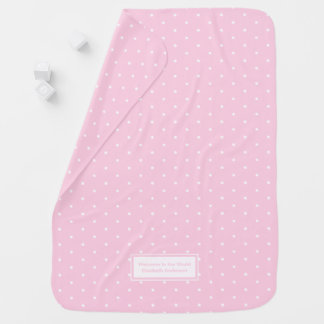 Baby Girls Snuggly Pink Polka Dot Personalized Swaddle Blanket