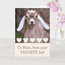 Baby Goat And Hearts Mother's Day Card