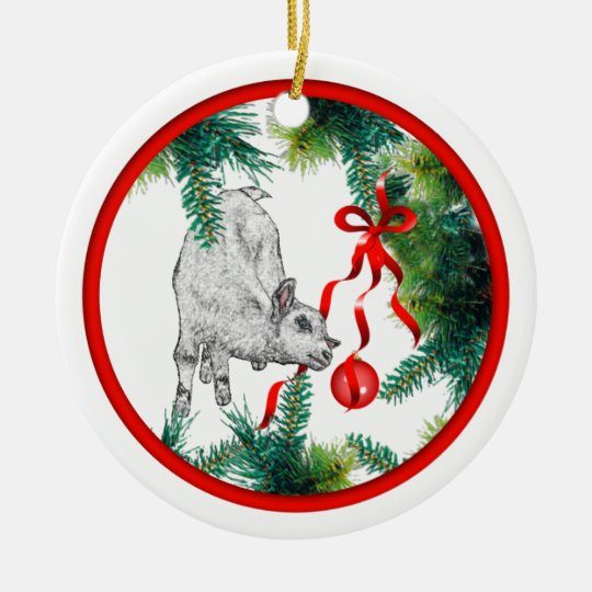 Baby Goat And Ribbon Ornament