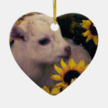 BABY GOAT IN FLOWERS HEART CHRISTMAS ORNAMENT