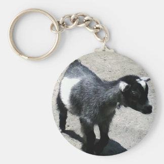 Baby Goat Basic Round Button Keychain