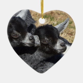 Baby Goats Heart Shaped Valentine's Day Ceramic Ornament