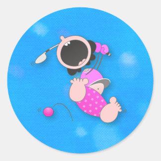 Baby Golfer Classic Round Sticker