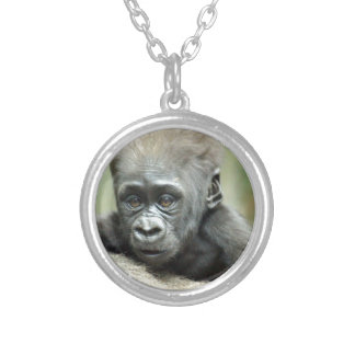 BABY GORILLA RELAXING SILVER PLATED NECKLACE