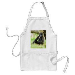 Baby Gorilla Snacking Adult Apron