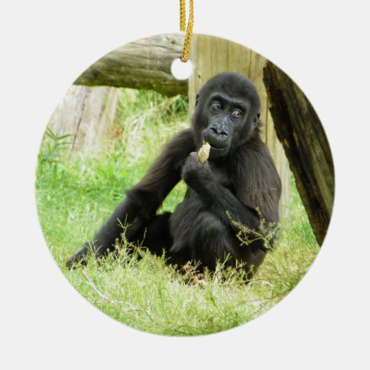 Baby Gorilla Snacking Ceramic Ornament
