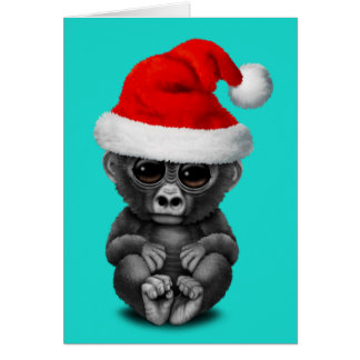 Baby Gorilla Wearing a Santa Hat Card