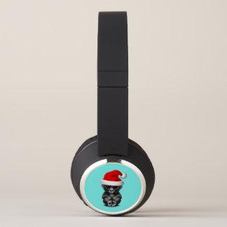 Baby Gorilla Wearing a Santa Hat Headphones