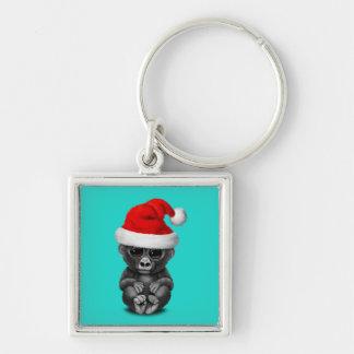 Baby Gorilla Wearing a Santa Hat Keychain