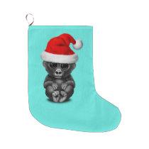 Baby Gorilla Wearing a Santa Hat Large Christmas Stocking