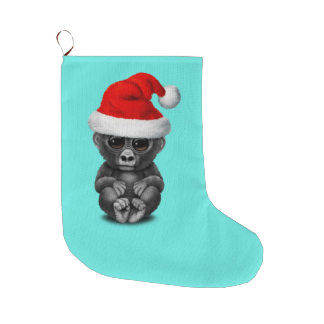 Baby Gorilla Wearing a Santa Hat Large Christmas Stocking