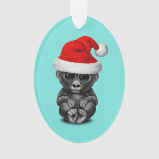 Baby Gorilla Wearing a Santa Hat Ornament