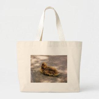 Baby Gosling In Spring Large Tote Bag