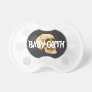 Baby goth text and skull pacifier