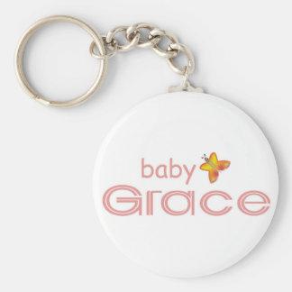 Baby Grace Basic Round Button Keychain