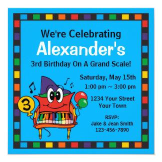 "Baby Grand Piano 3rd Birthday Custom Invitation 5.25"" Square Invitation Card"