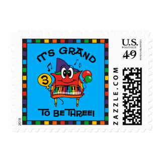 Baby Grand Piano 3rd Birthday Stamps