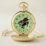 "Baby Grand Piano Design Pocket Watch<br><div class=""desc"">Baby Grand Piano Design Pocket Watch with customizable background color and optional personalization.</div>"