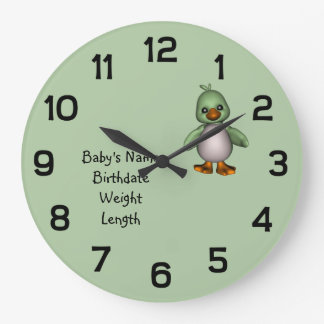 Baby Green Bird with Baby's Name Personalized Large Clock