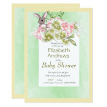 Baby  Green Floral Rabbit Shower Invitation