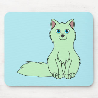 Baby Green Fox Sitting Mouse Pad