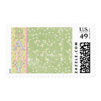 Baby Green Roses Announcement Thank You Stamps