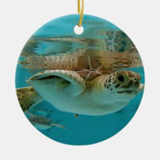 Baby Green Sea Turtle Ceramic Ornament