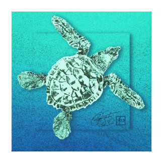 Baby Green Sea Turtle in Green Canvas Print