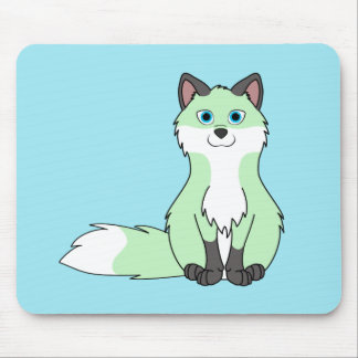Baby Green Sitting Fox Kit with Dark Markings Mouse Pad