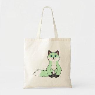Baby Green Sitting Fox Kit with Dark Markings Tote Bag