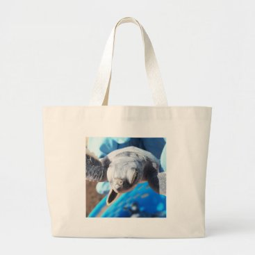 Beach Themed Baby Green Turtle Large Tote Bag
