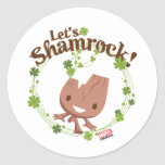 "Baby Groot ""Let's Shamrock!"" Classic Round Sticker"