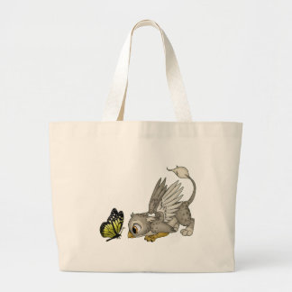 Baby Gryphon and Butterfly Large Tote Bag