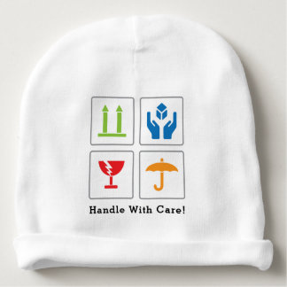"""Baby """"Handle with care"""" Cotton Beanie"""