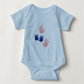 Baby Handprints Blue Pink  Tee Shirt by CREATIVEforKIDS at Zazzle