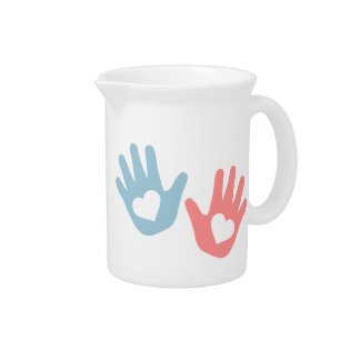 Baby hands hearts pitcher