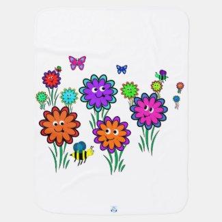 Baby Happy Flowers Stroller Blankets